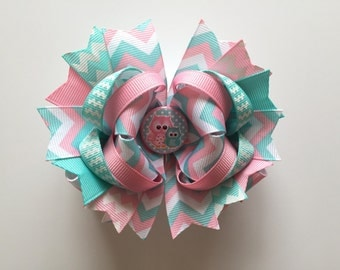 SALE! Ready To Ship Hairbow! Aqua And Pink Owl Hairbow, Spring Hairbow, Chevron Boutique Hairbow, Girls Hairbow