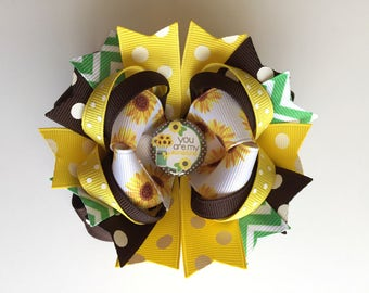 SALE! Ready To Ship Hairbow! You Are My Sunshine Hairbow, Sunflower Hairbow, Sunflowers Boutique Hairbow, Girls Hairbow