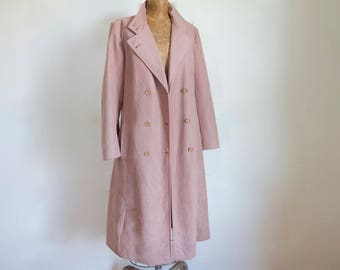 1970s Dusted Pink Trench Coat / Vintage 70s Forecaster of Boston Belted Trench / Medium