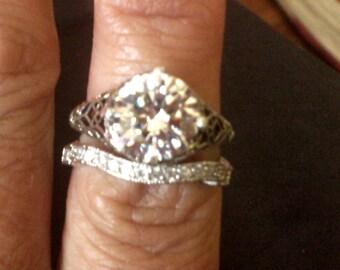 Edwardian Era Reproduction Wedding/Engagement Ring, OEC Engagement Ring, Antique Engagement Ring