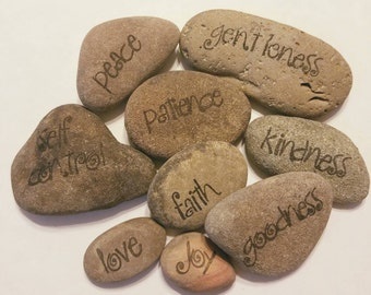 Fruit of the Spirit religious word stones, set of 9 in curly font