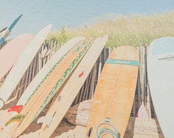 Surfboard Photography, 'Long Boards' Limited Edition Fine Art Photography, Image Transfer on Wood Panel by Patrick Lajoie, Montauk, surfing