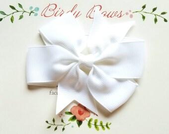 White Bow Clip, Baby Headbands, Infant Headbands, Baby Girl Headbands, Infant Bow, Baby Bow, Girl Bow,Girl Headbands
