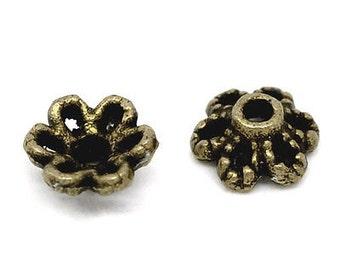 30pc 6mm antique bronze finish metal bead caps-7228H