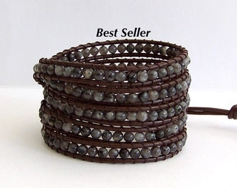 Labradorite Beaded Leather Wrap Bracelet - Labradorite semi-precious Stones, Brown Leather