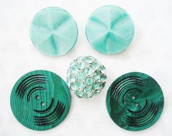 Assorted Green Plastic Buttons - Vintage Green Rhinestone Button - 5 Vintage Green Buttons -  Extra Large Green Buttons - Aqua Green Buttons