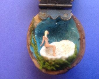 Miniature Venus in a Walnut Shell Diorama Folk Art