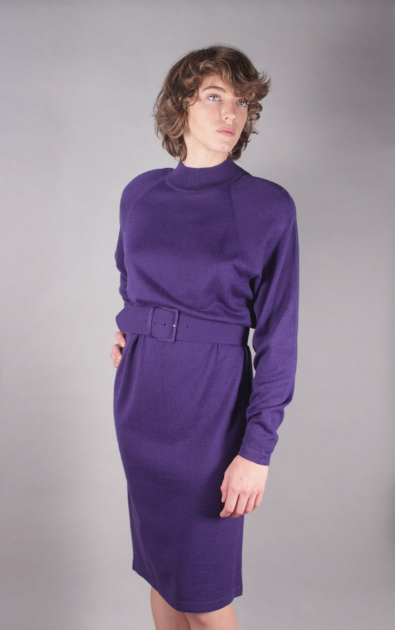 80s Purple Long Sleeve Sweater Dress w Wide Belt