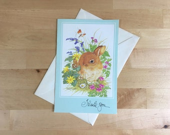 Vintage Thank You It Was Very Thoughtful of You Greeting Card - Rabbit in Garden - Bunny Design