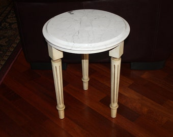 Hollywood Regency Small White Marble Table/Mid Century Carrera Marble Table/Marble Side Table/Marble End Table