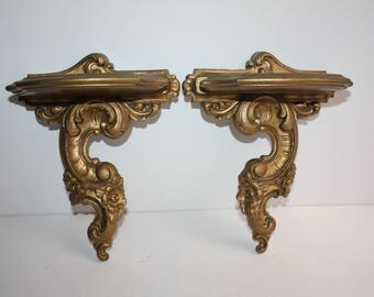 Vintage Pair Syroco Floral Gold Wood Wall Shelves/Hollywood Regency Decor/Ornate Gold Wall Shelf