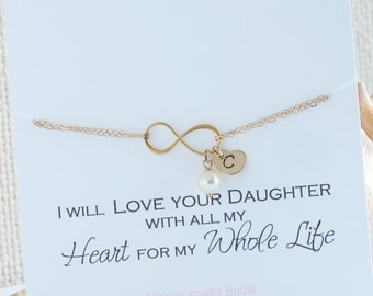 Mother of the Bride gift from Groom, Mother of the Bride Gift, Mother of the bride infinity bracelet with initials,Infinity Initial Bracelet
