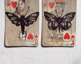 King of Hearts Queen Of Heart Vintage Altered Playing Cards