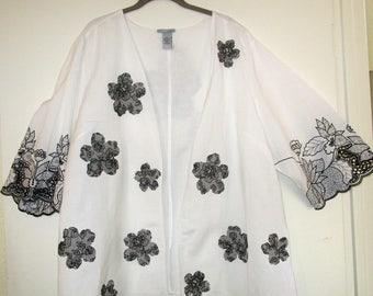 Artsy Upcycled White Linen Jacket 2X 3X 4X
