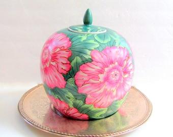 GORGEOUS Vintage Ceramic Ginger Jar 2 Piece Green Pink Foliage Floral