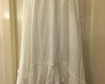OSFA RitaNoTiara W/ the Magnolia Bow white Pearl long skirt Victorian style Romantic Boho Gypsy Lagenlook petticoat layering slip gothic