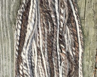 Handspun Yarn, Art Yarn, 3 Ply, Textured, Natural, Undyed, Wool, Bulky, Homespun