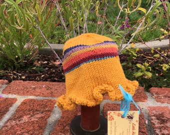 Handknit Baby Girl Ruffles Cloche Hat Golden yellow and stripes 12-18 mos.