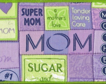 SUPER MOM Fabric Postcard, Mother's Day Quilted Postcard, Fiber Arts, Celebrate Mom!