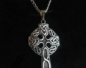 Large Stainless Steel Men's Celtic Cross Necklace