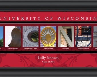 PERSONALIZED & FRAMED NCAA Wisconsin Badgers Letter Art Sports Prints