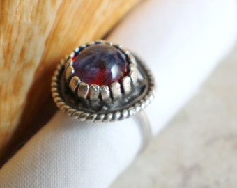 Round dragons breath glass opal ring in antique silver plated brass