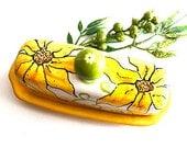 Happy Sunflower Butter Dish, Butter Dish, butter serving, hand painted butter dish, ceramic butter