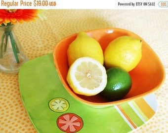 SALE-- Citrus Plate and Bowl Set, Summer Plate Set, Plate and Bowl, picnic plate, plate set, hand painted plate