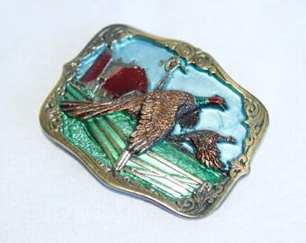 Vintage pheasant buckle…1987 pheasant belt buckle…pheasant hunting buckle...The Great American Buckle Co.