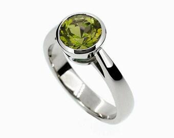 Peridot ring, engagement ring, Yellow gold, rose gold, white gold, engagement, green, peridot engagement, bezel, solitaire, green gemstone