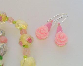 Pretty Pink Rose Dangle Earrings, Enamel Earrings, Shiny Silver, Womens Jewelry, Drop Earrings, Pink Flower Earring