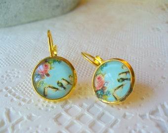 Birds and Flowers French Earrings, Leverback Dangle Earrings, Birthday Gift, French Earrings, Turquoise Blue, Womens Jewelry, Gold Earrings