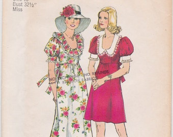 FF 70s BOHO Dress in Mini & Maxi Length Round Ruffle Collar Vintage Sewing Pattern [Simplicity 6279] Size 10, Bust 32.5, UNCUT
