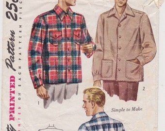 40s Men's Casual or Lumberjack Shirt Vintage Sewing Pattern - Simplicity 1961 - Size Med, Neck 15-15 1/2, Complete