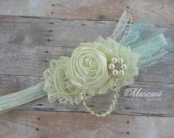 Shabby Rosette Pearl Rhinestone Hair Accessory (Available with Gown Orders)