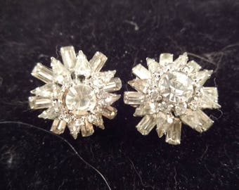 Set of Two Scatter Pins, Brilliant Clear Rhinestones, Silver Tone Metal, Unsigned