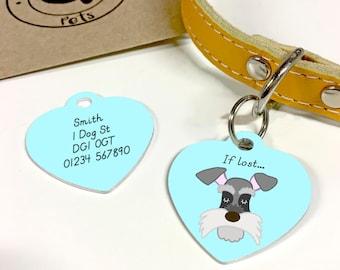 Schnauzer Dog Tag HEART - Personalised Dog ID tag - Schnauzer Name Tag - Schnauzer Collar Charm