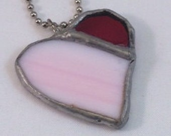Pink and Red Stained Glass Heart Pendant, Heart Stained Glass Pendant, Recycled Stained Glass Jewelry, kimsjoy, Valentine Gift, mother gift