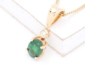 Tsavorite Green Garnet & Diamond Pendant 14K Yellow Gold (2ct tw) : sku 635-14K-YG (Watch Video)