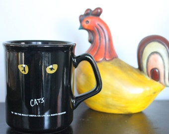 Vintage Cats Broadway Musical Coffee Cup Mug 1981 Ceramic Black