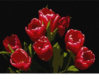 Needlepoint Kit or Canvas: Tulip Bunch