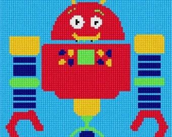 Needlepoint Kit or Canvas: Robot Three