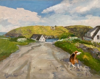 "Monhegan Island and Manana , Maine art original oil painting, 11""x14"" landscape beagle Maine artist Adrienne Kernan LaVallee expressive real"