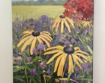 "Black Eyed Susan and Purple Asters, field, original unframed oil painting, 14""X11"" landscape art by Maine artist Adrienne Kernan LaVallee"