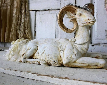 Ram statue golden horns painted cream distressed French Nordic chalkware plaster sheep shabby cottage chic home decor anita spero design