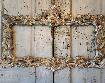 Ornate rectangle picture frame wall hanging distressed cream white w/ gold accents shabby cottage chic hand painted decor anita spero design