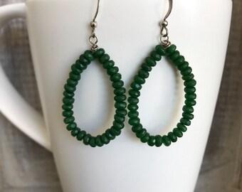 Green Jade Gemstone Earrings Sterling Silver Hoops