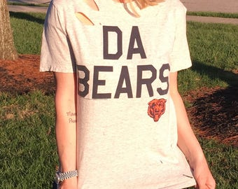 Women's Grey Chicago Bears Distressed Tee Top Shirt Small