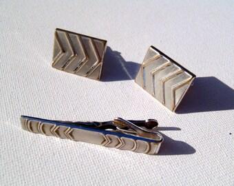 Vintage Silvertone Rectangular Chevron Cufflinks and Tie Clip Set by Swank