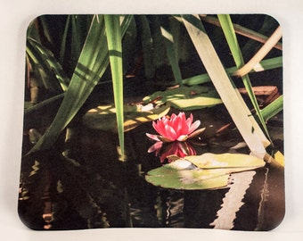 Mousepad, Pink Water Lily Design, Office Décor, Photograph, Artistic, Office Accessory, Pink, Green
